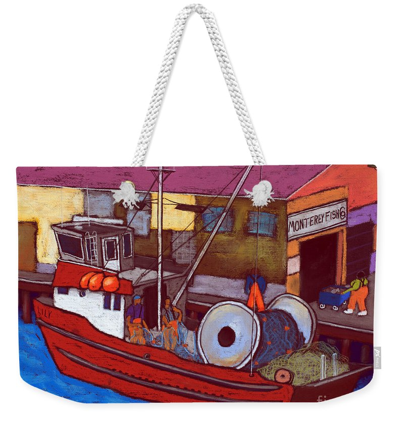 Commercial Fishing Weekender Tote Bag featuring the painting Monterey Fish Company by David Hinds
