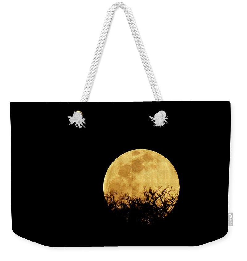 Horror Weekender Tote Bag featuring the photograph Moon Rise by Rollingearth