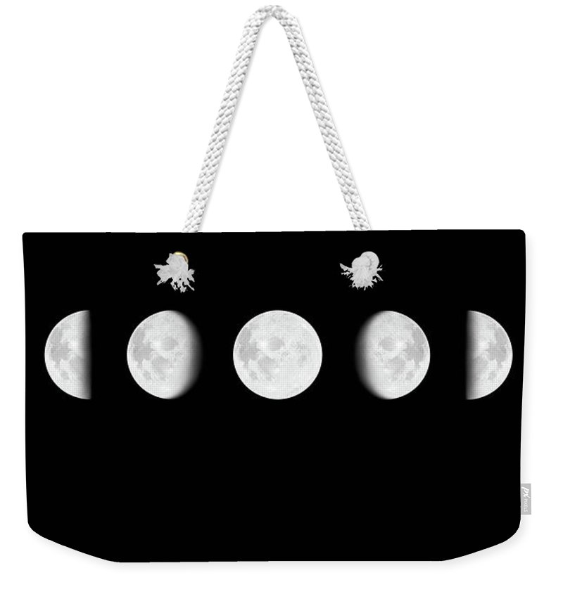 Sequential Series Weekender Tote Bag featuring the photograph Moon Surface With Different Phases Xxxl by Cruphoto
