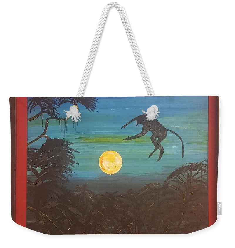 Moonlight Baboon Weekender Tote Bag featuring the photograph Moonlight Baboon by Quintus Curtius