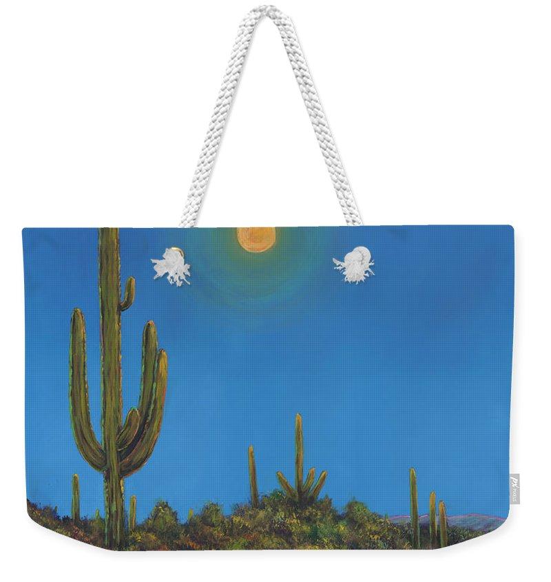 Arizona Weekender Tote Bag featuring the painting Moonlight Serenade by Johnathan Harris