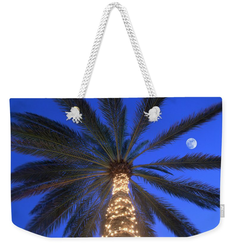 Tranquility Weekender Tote Bag featuring the photograph Moonrise Near Lit-up Palm Tree by Grant Faint