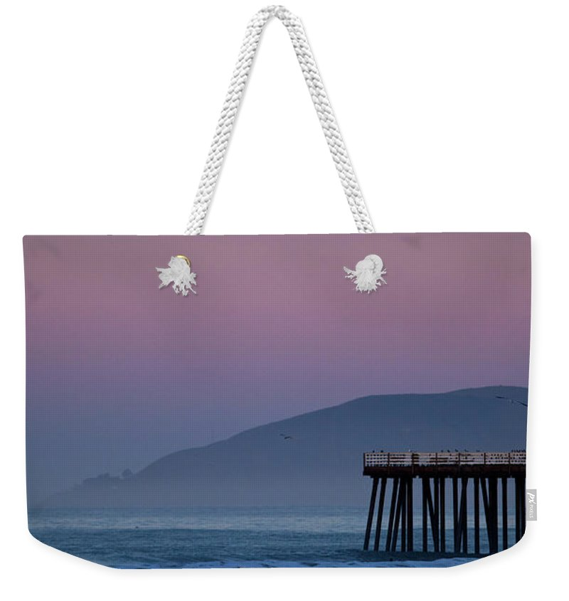 Pismo Beach Weekender Tote Bag featuring the photograph Moonset At Pismo Beach by Mimi Ditchie Photography
