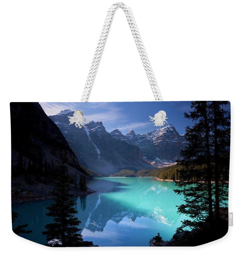 Extreme Terrain Weekender Tote Bag featuring the photograph Moraine Lake, Banff National Park by Dan prat