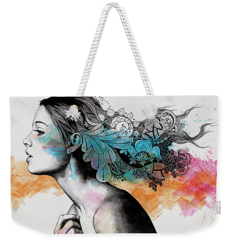 Doodles Weekender Tote Bag featuring the drawing Moral Eclipse II - Portrait Of Woman With Doodles Sketch by Marco Paludet