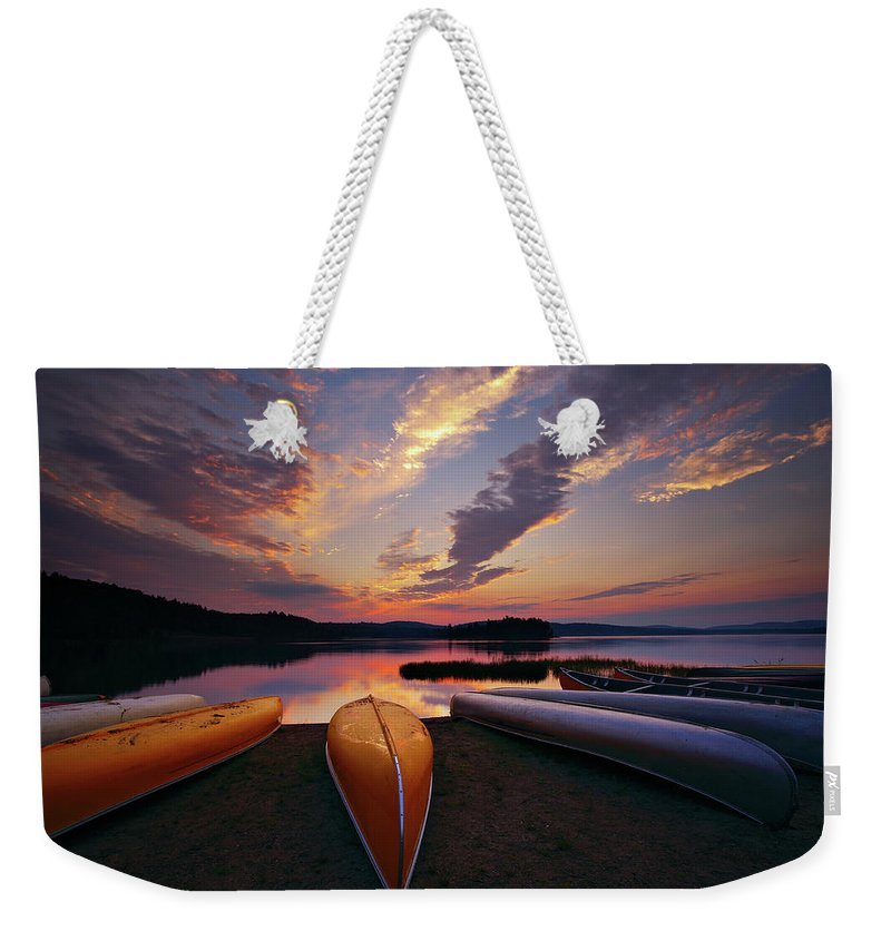 Tranquility Weekender Tote Bag featuring the photograph Morning At Lake Of The Two Rivers by Henry@scenicfoto.com