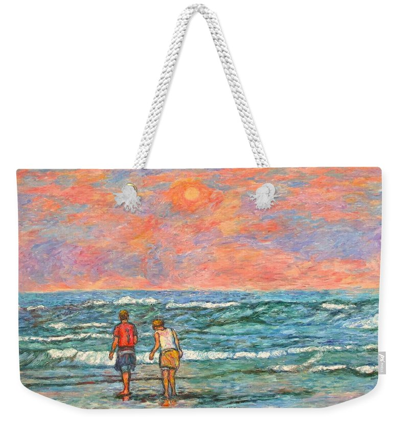 Isle Of Palms Weekender Tote Bag featuring the painting Morning Stroll At Isle Of Palms by Kendall Kessler