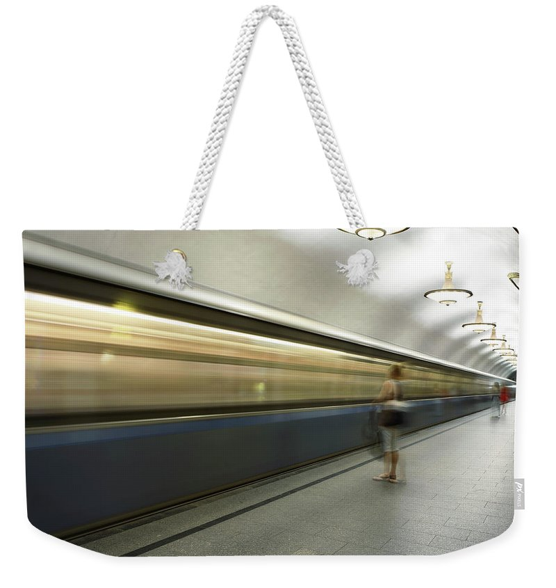 People Weekender Tote Bag featuring the photograph Moscow Metro by Fmajor