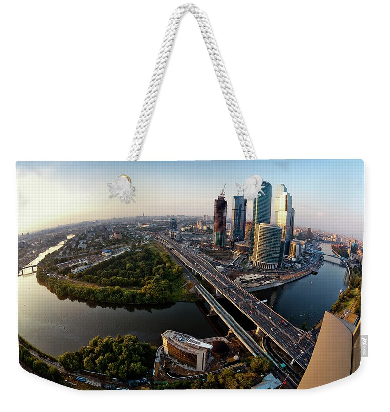 Industrial District Weekender Tote Bag featuring the photograph Moscow Skyline. Aerial View. Fisheye by Mordolff