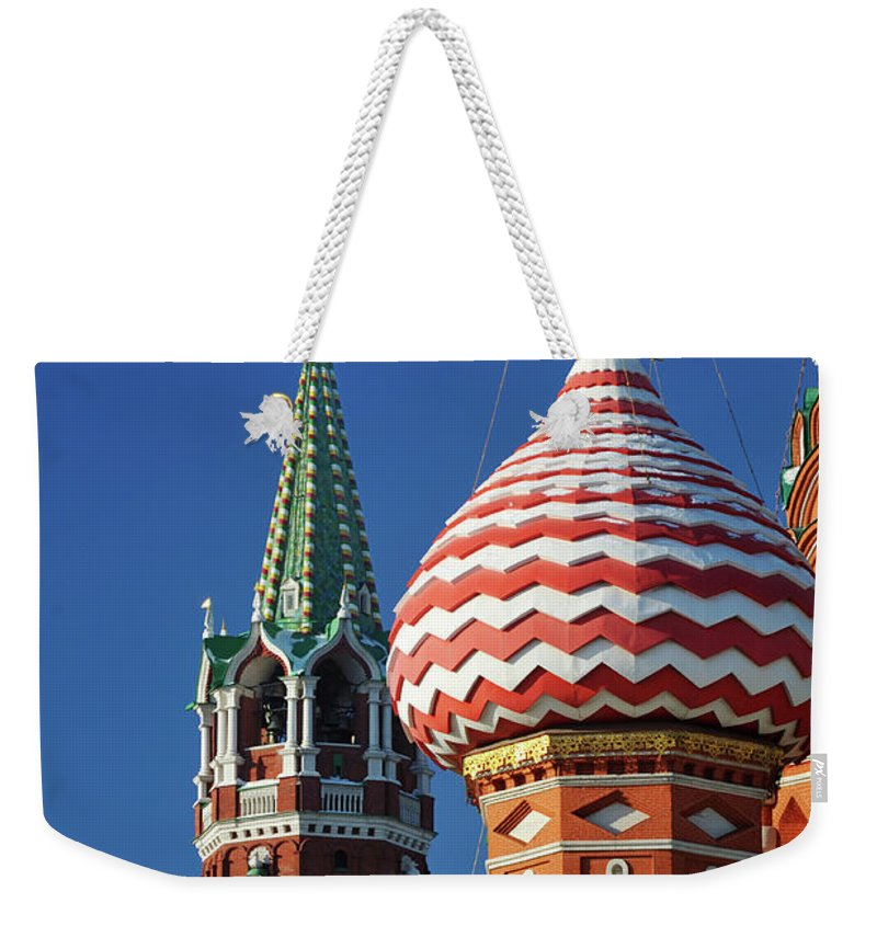 Built Structure Weekender Tote Bag featuring the photograph Moscow, Spasskaya Tower And St. Basil by Vladimir Zakharov