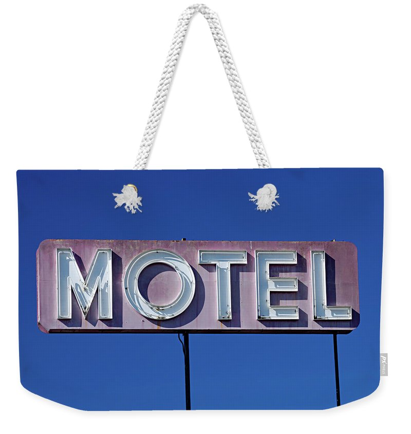 Clear Sky Weekender Tote Bag featuring the photograph Motel Sign by Eyetwist / Kevin Balluff