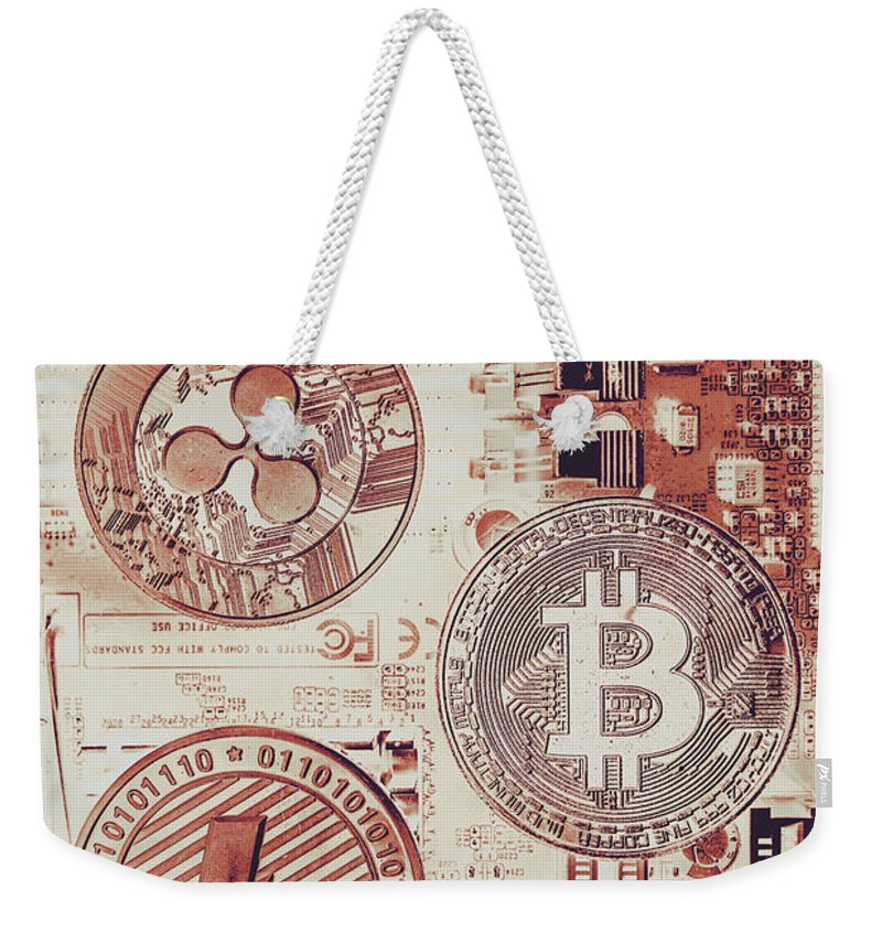 Technology Weekender Tote Bag featuring the photograph Motherboard Money by Jorgo Photography - Wall Art Gallery