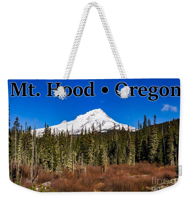 Mount Hood Weekender Tote Bag featuring the photograph Mount Hood Oregon In Winter 01 by G Matthew Laughton