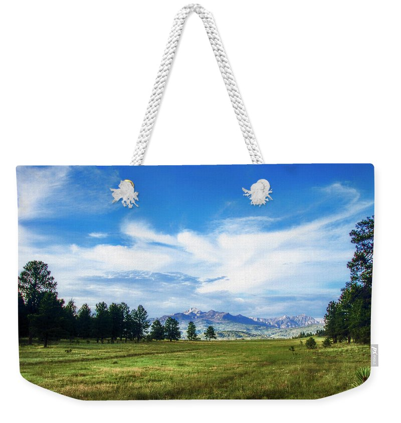 Colorado Weekender Tote Bag featuring the photograph Mount Pagosa Meadow by Mike Braun