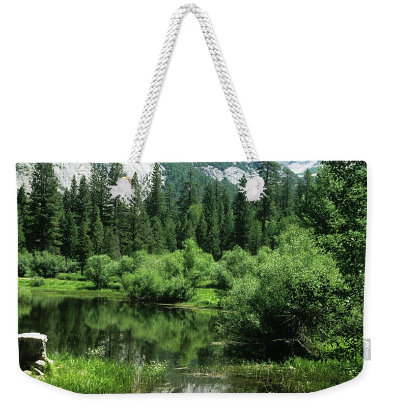 Scenics Weekender Tote Bag featuring the photograph Mount Watkins And Mirror Lake by Moodboard