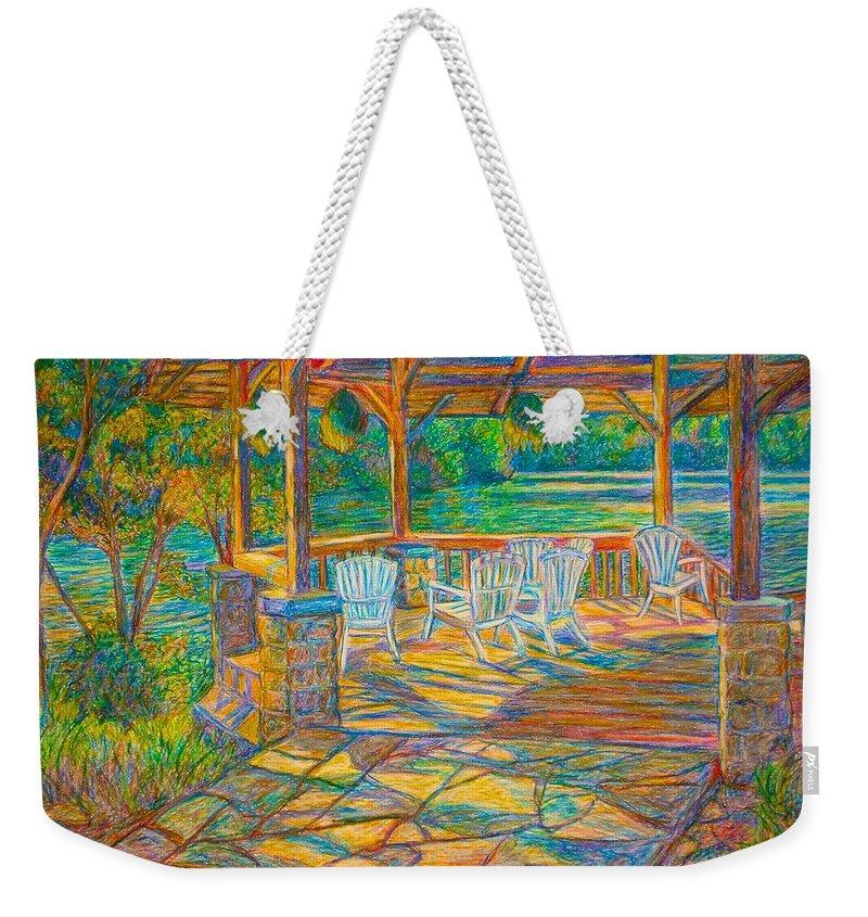 Lake Weekender Tote Bag featuring the painting Mountain Lake Shadows by Kendall Kessler