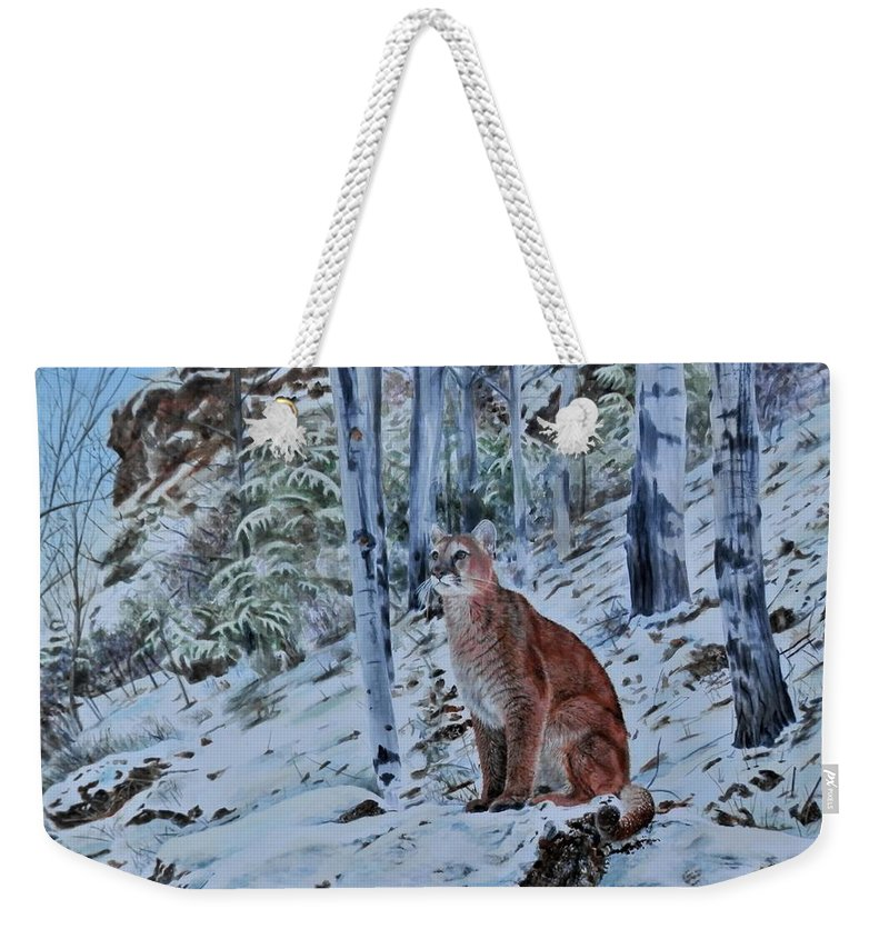 Mountain Lion Weekender Tote Bag featuring the painting Mountain Lion by John Neeve