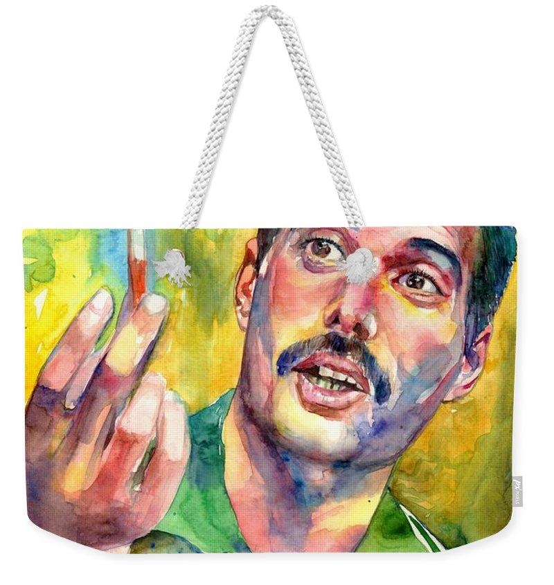 Freddie Mercury Weekender Tote Bag featuring the painting Mr Bad Guy - Freddie Mercury Portrait by Suzann Sines