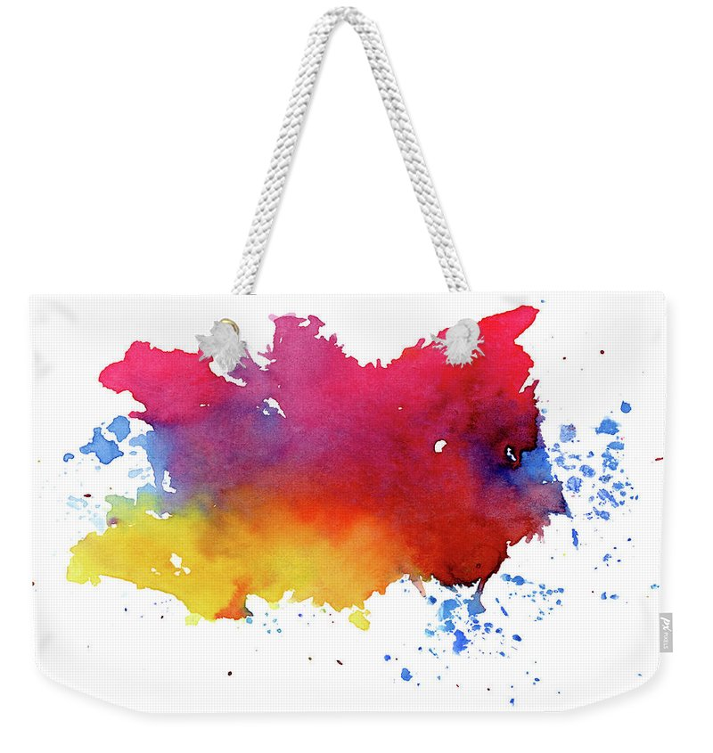 Watercolor Painting Weekender Tote Bag featuring the photograph Multicolored Splashes by Alenchi
