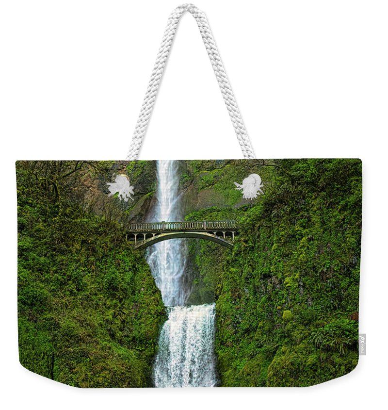 Jon Burch Weekender Tote Bag featuring the photograph Multnomah Falls by Jon Burch Photography