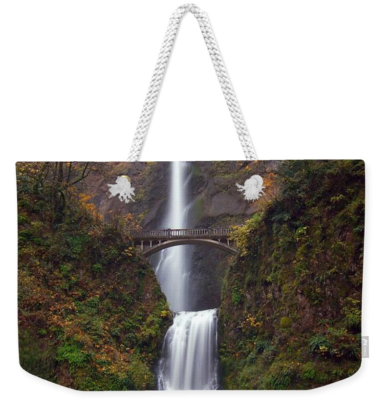 Scenics Weekender Tote Bag featuring the photograph Multnomah Falls by Ted Ducker Photography