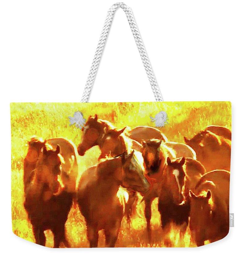 Mustangs Grazing In The Sun Weekender Tote Bag featuring the mixed media Mustangs Grazing in the Sun by Seth Weaver
