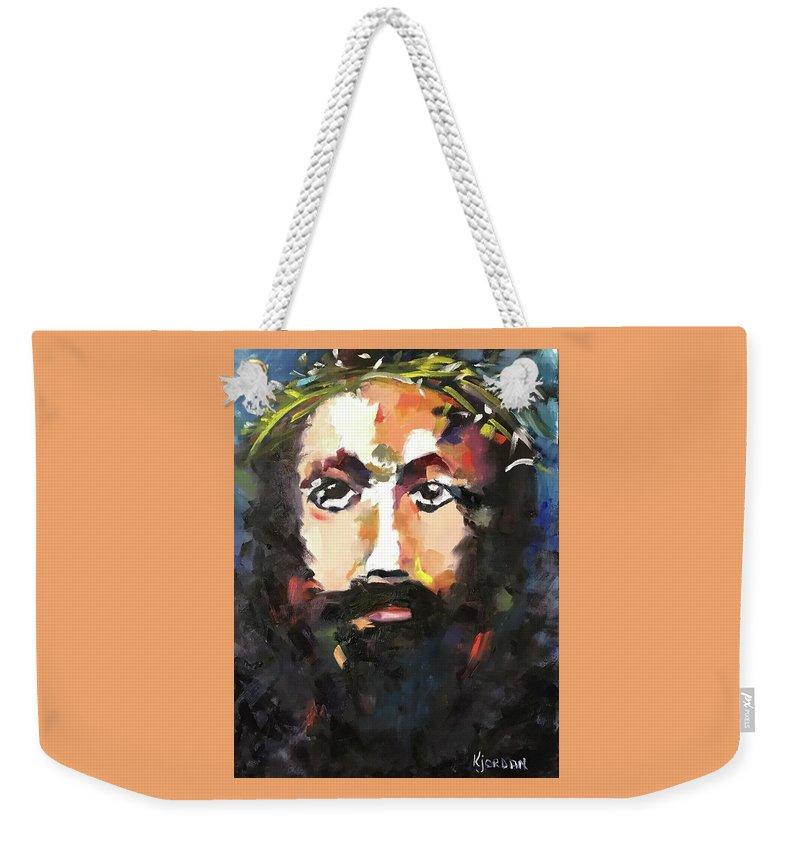 Jesus Weekender Tote Bag featuring the painting My Savior by Karen Jordan