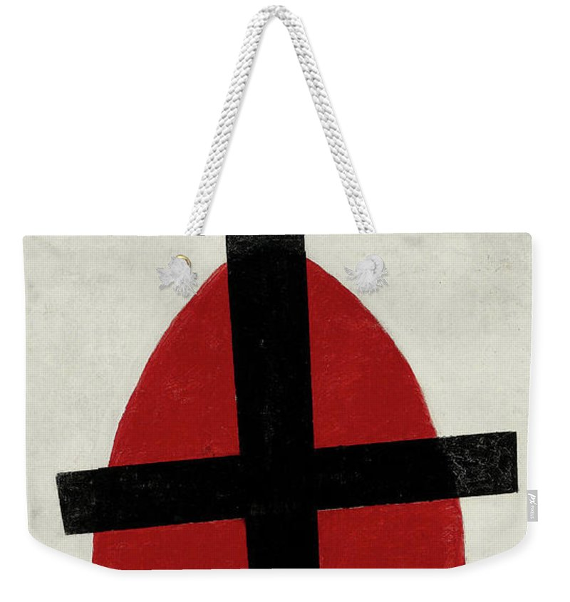 Kazimir Malevich Weekender Tote Bag featuring the painting Mystic Suprematism - Black Cross On Red Oval, 1920-1922 by Kazimir Malevich
