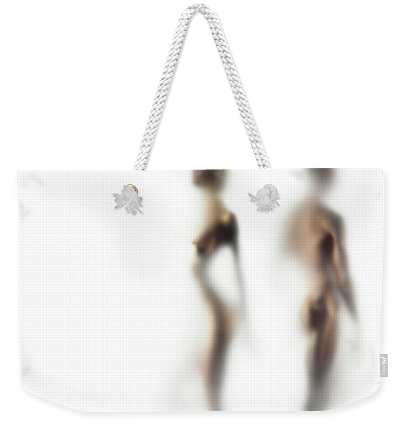 Young Men Weekender Tote Bag featuring the photograph Naked Young Woman And Man Defocussed by Symphonie