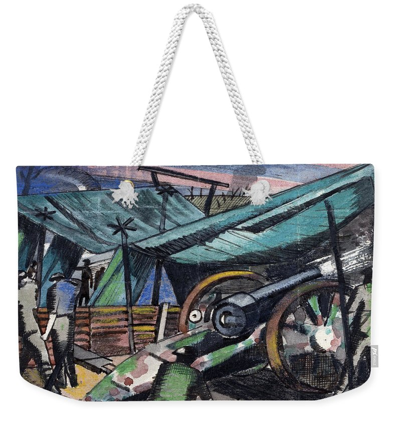B1019 Weekender Tote Bag featuring the painting A Howitzer Firing, 1918 by Paul Nash