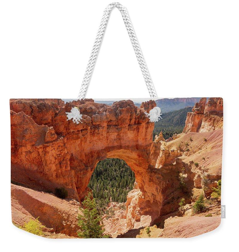 Natural Bridge Weekender Tote Bag featuring the photograph Natural Bridge - Bryce Canyon - Utah by Debra Martz