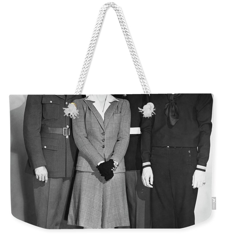 People Weekender Tote Bag featuring the photograph Navy, Marine, Army Officers by George Marks