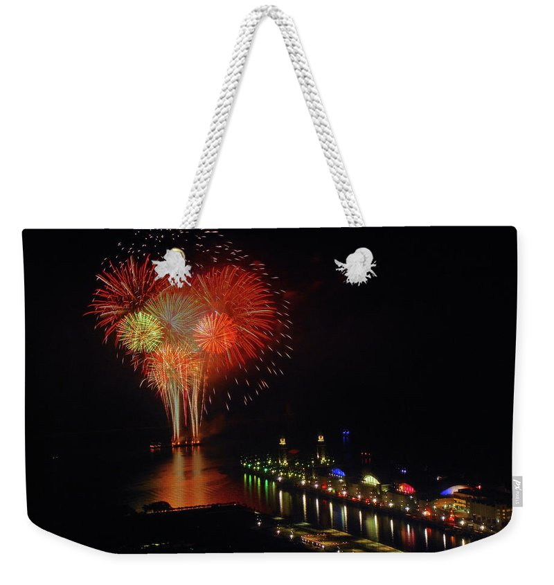 Firework Display Weekender Tote Bag featuring the photograph Navy Pier Fireworks by Image By Douglas R. Siefken