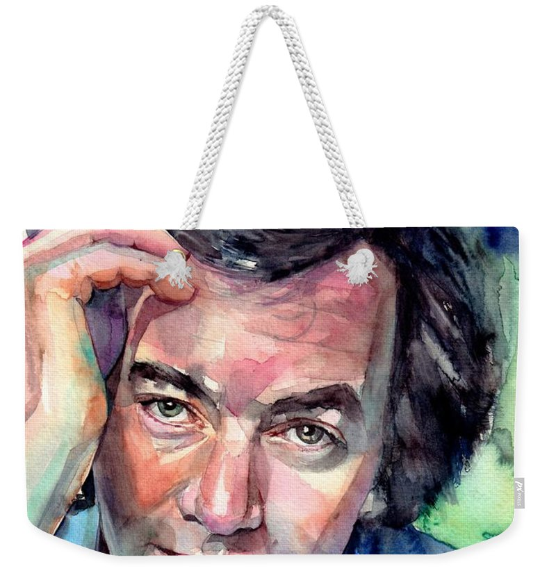 Neil Diamond Weekender Tote Bag featuring the painting Neil Diamond Portrait I by Suzann Sines