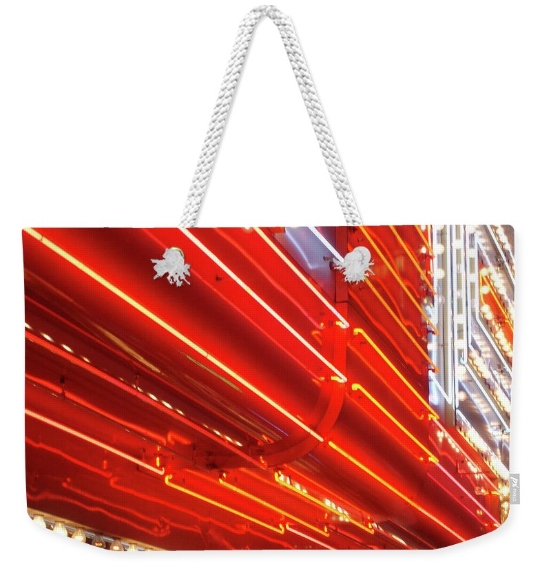 Downtown District Weekender Tote Bag featuring the photograph Neon Lights Downtown Las Vegas by Jill Tindall