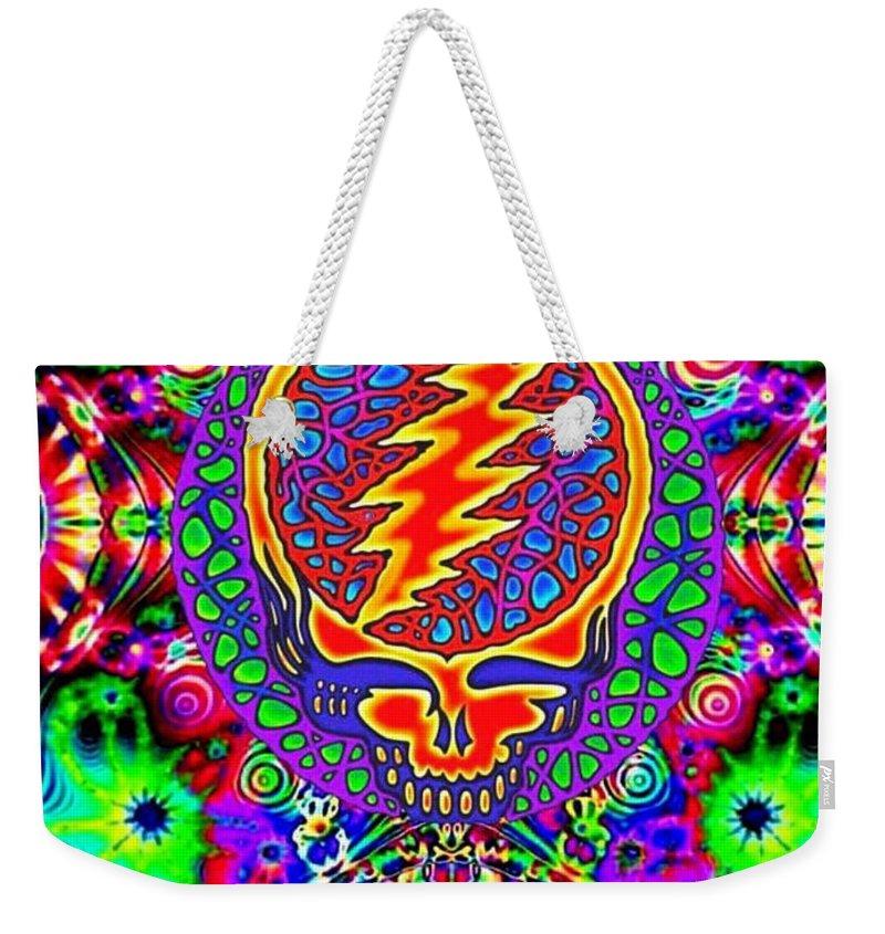 Grateful Dead Weekender Tote Bag featuring the digital art Neon Stealie by John Brown