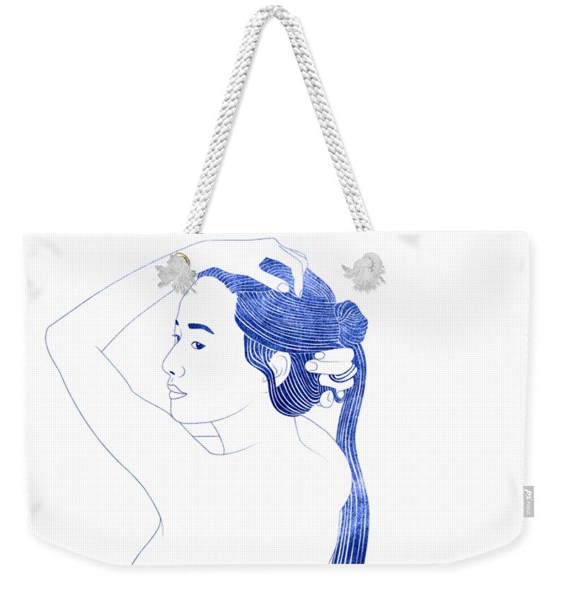 Weekender Tote Bag featuring the mixed media Nesaie by Stevyn Llewellyn