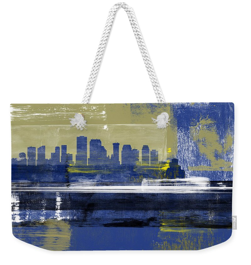 New Orleans Weekender Tote Bag featuring the mixed media New Orleans Abstract Skyline II by Naxart Studio