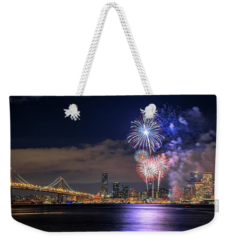 Firework Display Weekender Tote Bag featuring the photograph New Year Fireworks by Piriya Photography