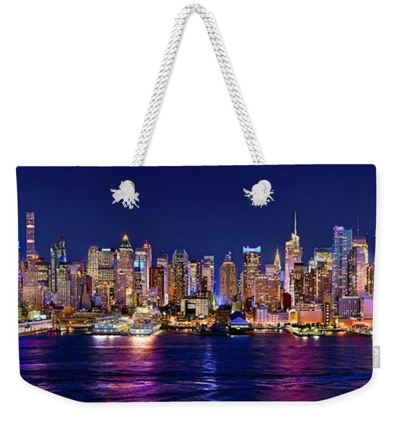 New York City Skyline At Night Weekender Tote Bag featuring the photograph New York City Nyc Midtown Manhattan At Night by Jon Holiday