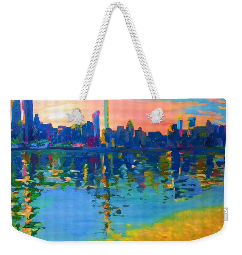New York City Weekender Tote Bag featuring the painting New York City, Skyline by Eduard Zenuni