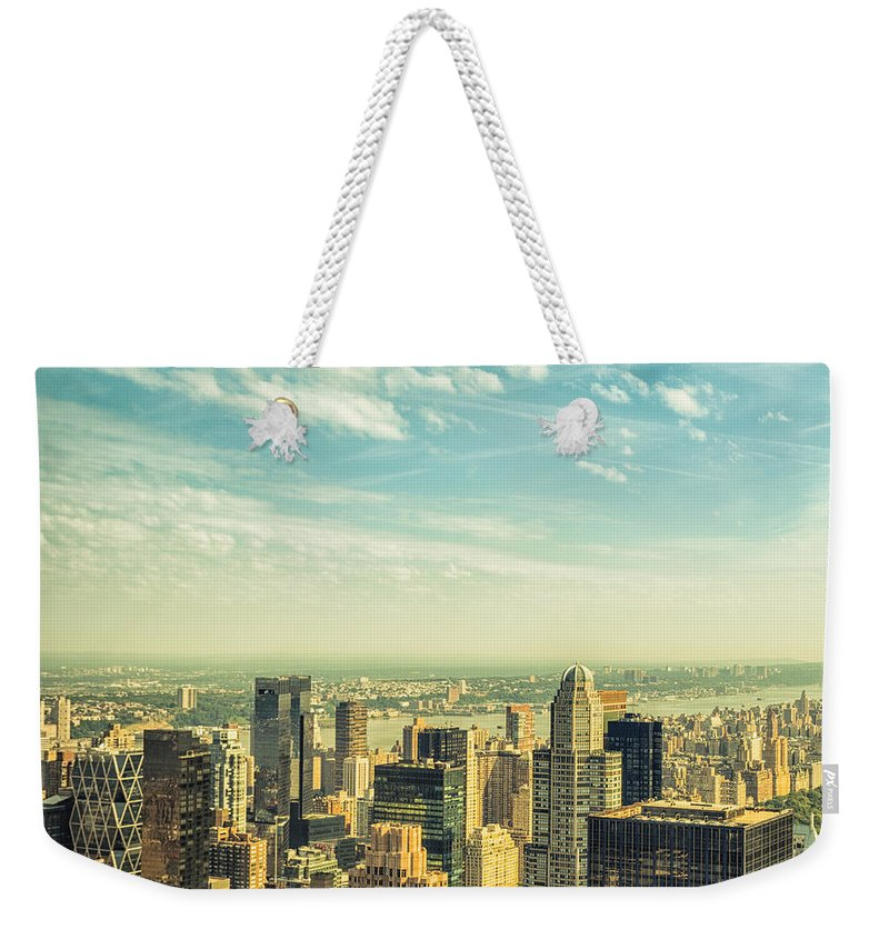 Lower Manhattan Weekender Tote Bag featuring the photograph New York City Skyline With Central Park by Franckreporter