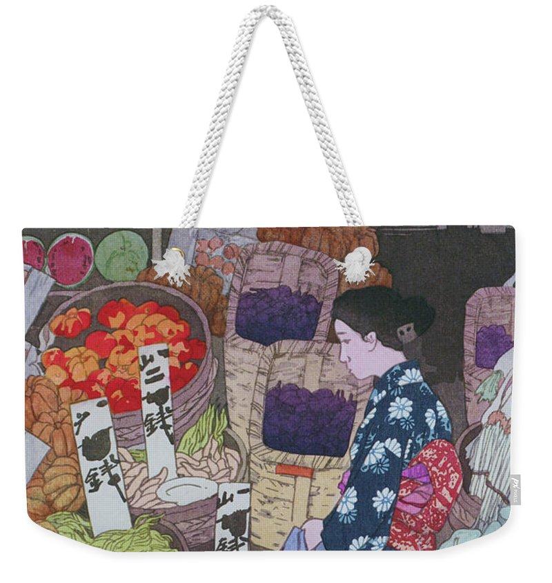 Yoshida Weekender Tote Bag featuring the painting Nezu Honest Vegetable Store - Digital Remastered Edition by Yoshida Hiroshi