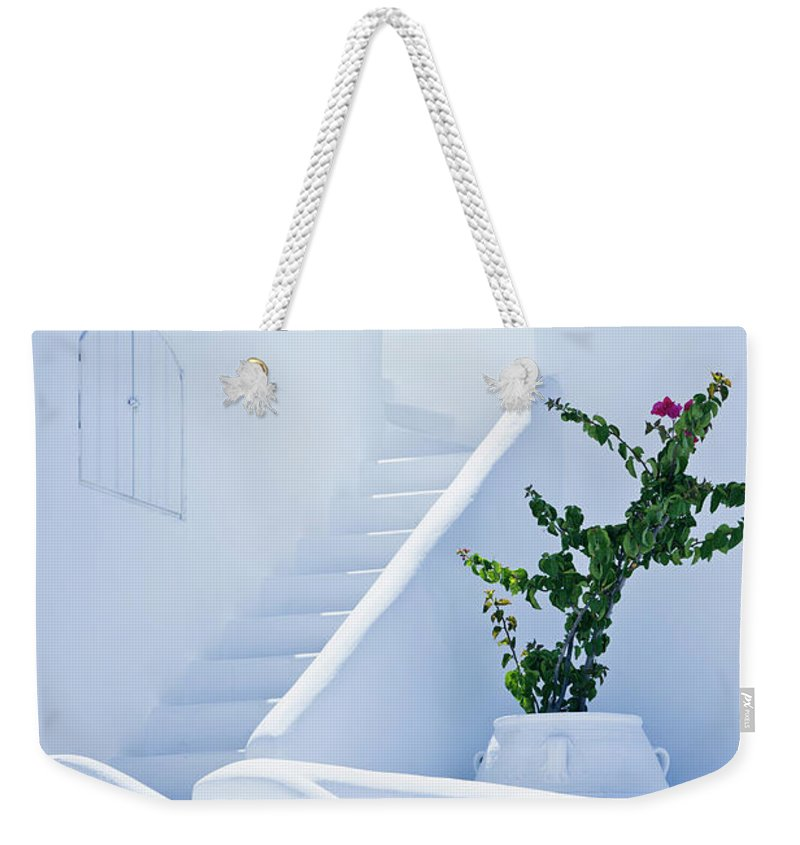 Steps Weekender Tote Bag featuring the photograph Nice White Stairs In Oia Village by Mbbirdy
