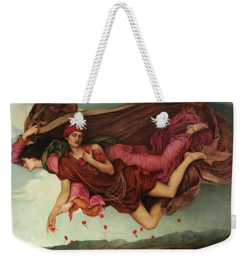 Evelyn De Morgan Weekender Tote Bag featuring the painting Night And Sleep, 1878 by Evelyn De Morgan