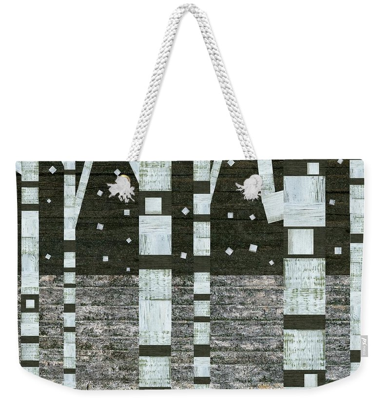 Stripes Weekender Tote Bag featuring the digital art Night Birches by Michelle Calkins