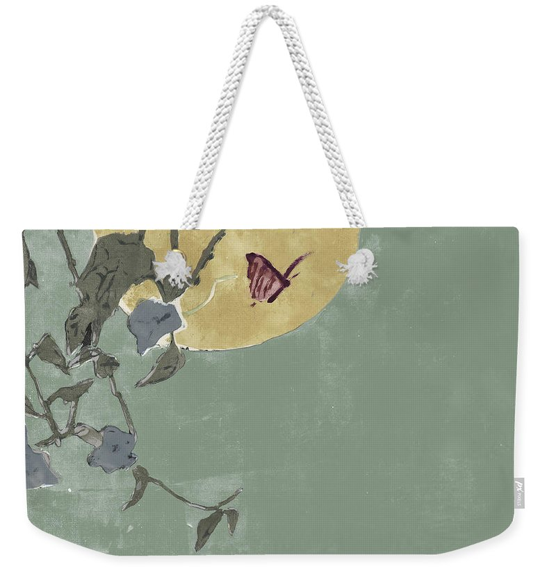 Green Weekender Tote Bag featuring the mixed media Nocturnal Butterfly by Thomas Tribby