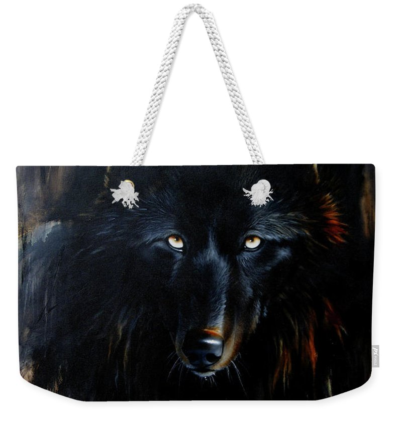 Wolf Weekender Tote Bag featuring the painting Noir by Sandi Baker