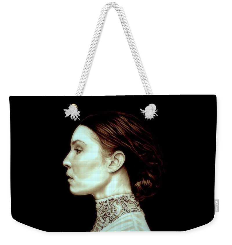 Prometheus Weekender Tote Bag featuring the drawing Noomi Rapace by Fred Larucci