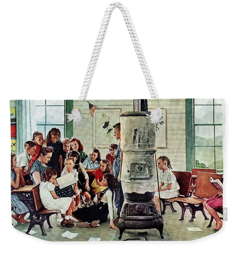 Book Weekender Tote Bag featuring the drawing Norman Rockwell Visits A Country School by Norman Rockwell